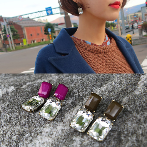 crystal square earing