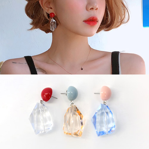 color crystal earring