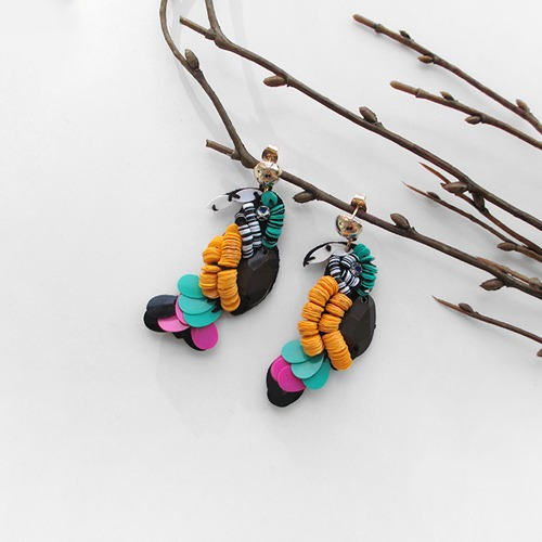 spangle parrot earring